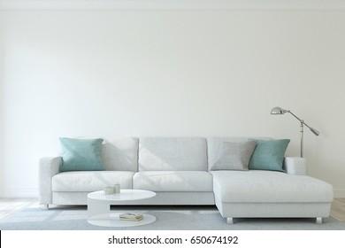 Modern living-room. Interior mock-up. 3d render.