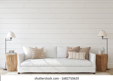 Modern living-room interior. Interior mockup. The white couch near empty shiplap wall. 3d render.