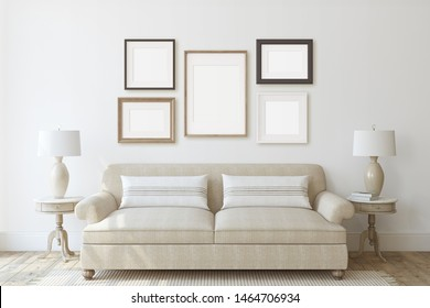 Modern living-room interior in neutral colors. Frame mockup. Interior mockup. 3d render.