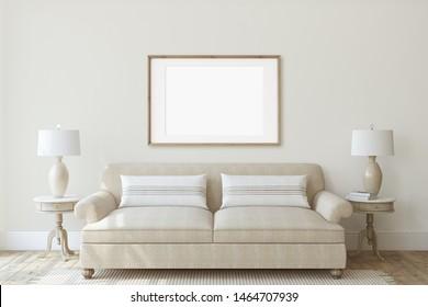 Modern living-room interior in neutral colors. Frame mockup. Interior mockup. 3d render.