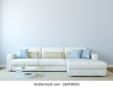 Modern living-room interior with white couch near empty blue wall. 3d render.