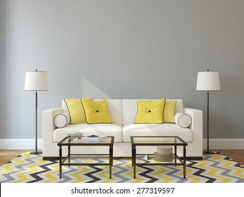 Modern living-room interior with white couch near empty gray wall. 3d render. Photo on book cover was made by me.