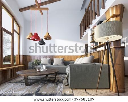 Modern livingroom loft style living room stockillustration