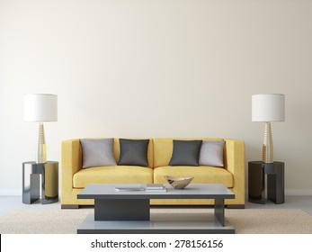Modern living-room with yellow couch. 3d render.