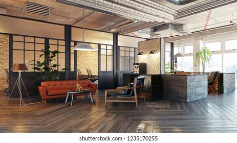 modern lobby interior. 3d rendering design