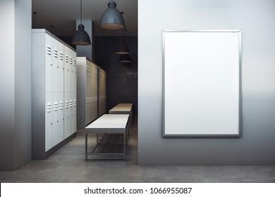 Modern locker room interior with empty banner. Sports advertisement concept. Mock up, 3D Rendering