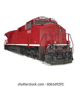 Modern locomotive isolated on white. 3D illustration