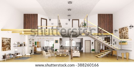 Modern loft apartment interior cut living stockillustration