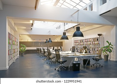 modern loft area office interior. 3d rendering design concept
