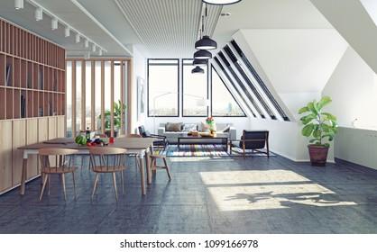 modern loft attic apartment design concept. 3d rendering illustration