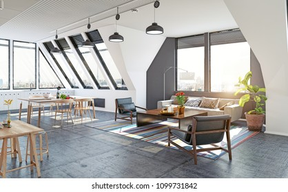 modern loft attic apartment design concept. 3d rendering illustration