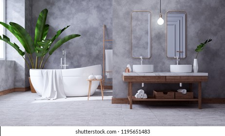 Modern Loft Bathroom interior design,white basin on wooden shelf  with  concrete wall,3d render