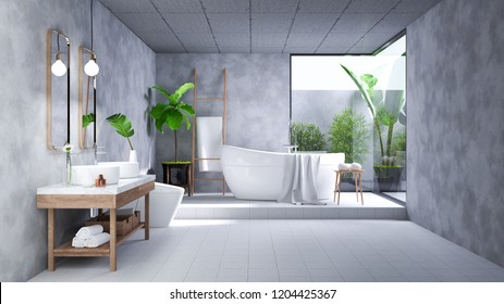 Modern Loft Bathroom interior design,white bathtub on concrete room,3d render
