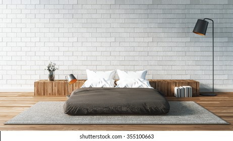 The Modern of Loft Bedroom / 3D render image