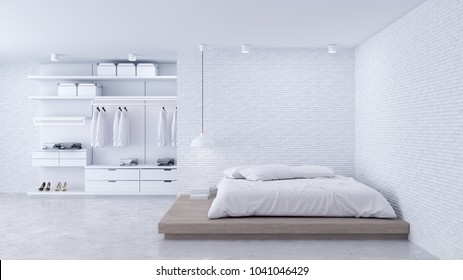 Modern Loft bedroom interior and dressing room ,walk - in closet with white wardrobe,white brick wall and concrete floor ,3d rendering