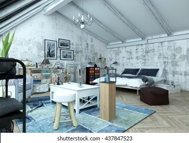 Modern loft bedroom with a trendy paint effect of grey abstract splashes and an eclectic collection of vintage and modern furniture in a bed sitter arrangement, 3d render