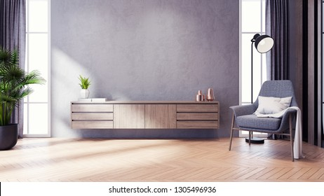 Modern loft and dark livingroom interior design ,TV cabinet and gray chair with wood flooring and concrete wall,3d rendering
