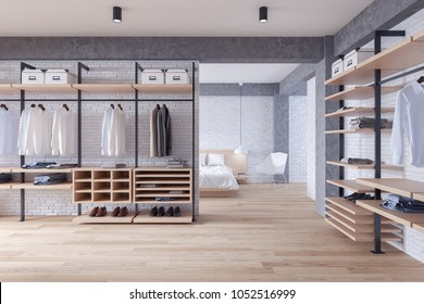Modern loft dressing room and bedroom  interior concept,wood wardrobe on white brick wall and woodfloor,3d rendering