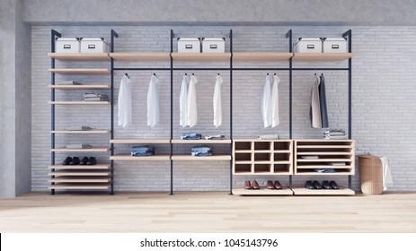 Modern loft dressing room  interior concept, ,walk- in closet wood wardrobe on white brick wall and wood floor,3d rendering