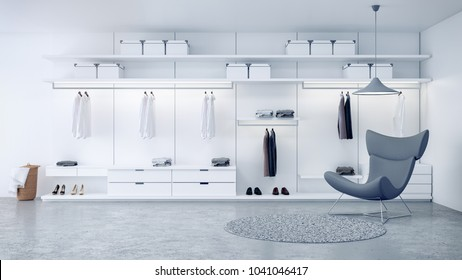 Modern loft dressing room ,walk - in closet interior, white wardrobe design ,3d rendering