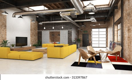 Modern loft with industrial details - 3 d render (using 3 d s Max)
