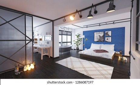 modern loft interior. 3d rendering design concept