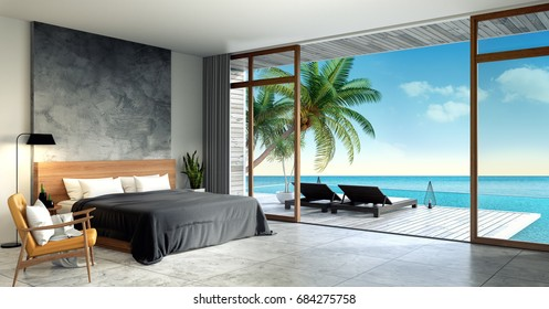 Modern Loft  interior of Bedroom ,Summer , sun loungers on Sunbathing deck and private swimming pool with  panoramic sea view at villa,beach lounge,/3d rendering