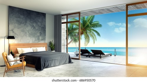 Modern Loft  interior of Bedroom ,Summer , beach lounge, sea Hostel Homestay,3d rendering