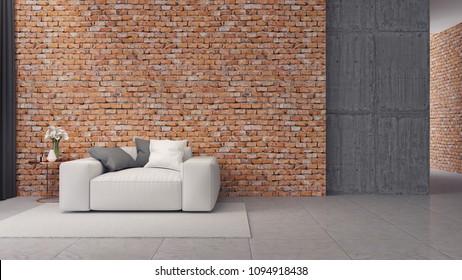 Modern loft interior design ,white sofa on brick wall,3d render