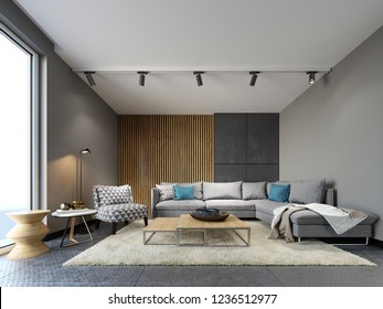 Modern loft interior of living room, grey sofa and colorful pillows on metal flooring and dark concrete wall and wood planks element . 3d rendering