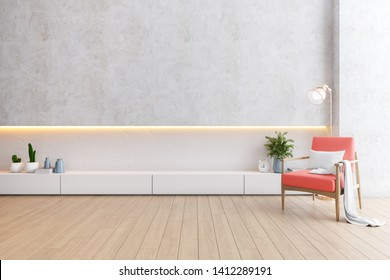 Modern loft interior of living room, coral armchairs with white cabinet on wood flooring and white wall  ,3d rendering