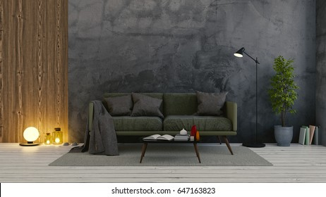 Modern loft  interior of living room,dark  green  sofa on white flooring and dark concrete wall .empty room ,3d rendering