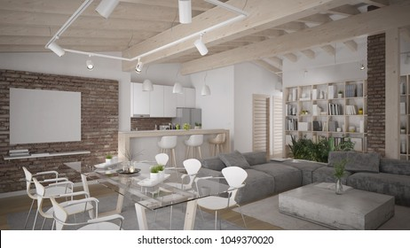 Modern loft interior with wooden ceiling - 3 d rendering using 3 d s Max