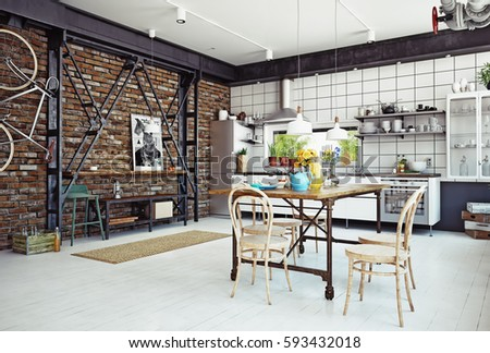 Modern loft kitchen interior d rendering stockillustration