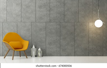 Modern Loft Living Room 3d Rendering Image There Is A Polished Concrete Wall  With Groove.