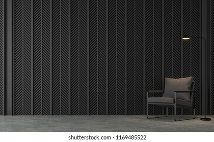 Modern loft living room with black steel slats 3d render.There are concrete floors , Decorate wall with pattern of  black steel slats.Furnished with dark gray fabric chair.