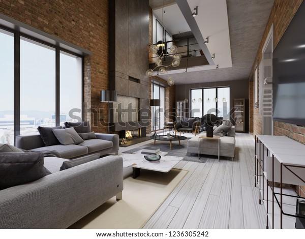 Modern Loft Living Room High Ceiling Stock Illustration 1236305242