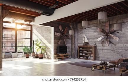 Modern loft living room interior. 3D rendering concept
