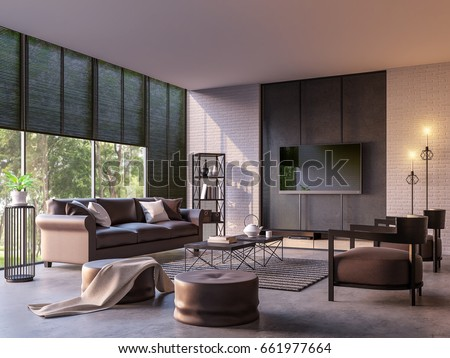 modern loft living room nature view stock illustration 661977664