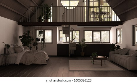 Modern loft with mezzanine and staircase, parquet floor and panoramic windows. Studio apartment, open space, bedroom, living room, kitchen and balcony, white and gray interior design, 3d illustration