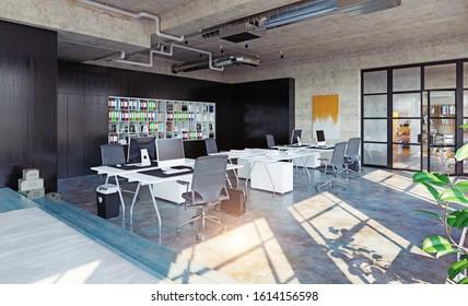 modern loft office interior, 3d rendering business concept design
