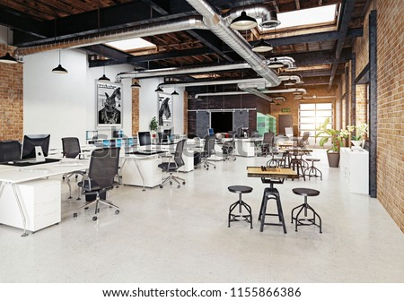 Modern loft office interior d rendering stockillustration