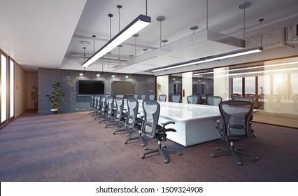 Modern loft office interior design concept. 3d rendering design