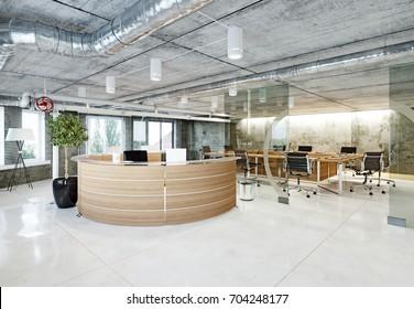 Modern Loft Office Reception. 3d Rendering Concept