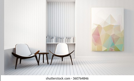 Modern & Loft The Painting in Living room / 3D render image