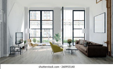 Modern loft with retro details (3 D render)