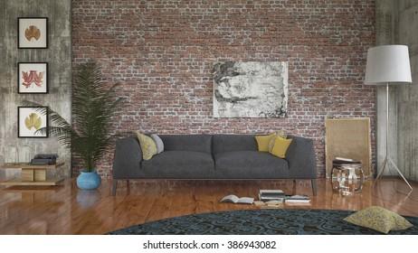 Modern loft with retro details - 3 d render using 3 d s max