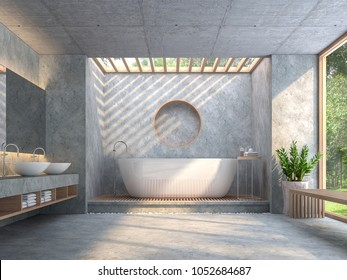 Modern loft style bathroom with polished concrete 3d render.Furnished with wood furniture and white ceramic sanitary ware. There are window overlooks to nature.