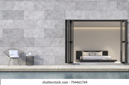 Modern loft style bedroom terrace with swimming pool 3d rendering image.There are concrete walls grooved in the pattern of brick.furnished with black color furniture
