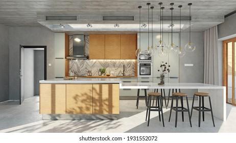 modern loft style  kitchen interior. 3d rendering design concept